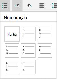 Opções de numeração