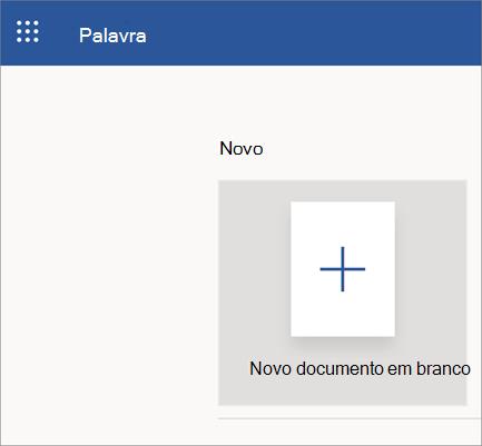 Página de abertura do Word online com um novo documento em branco