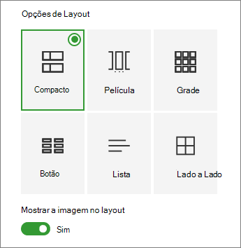 Opções de layout de links rápidos