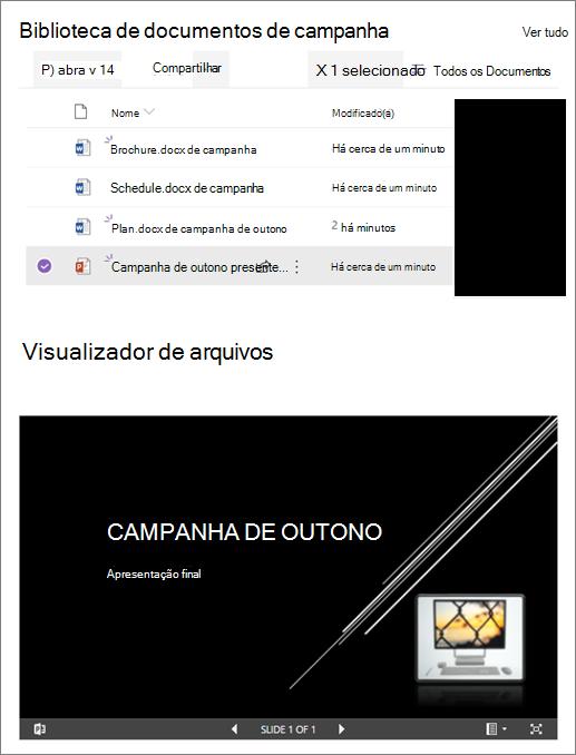 Exemplo de uma Web Part de visualizador de arquivos conectada a uma biblioteca de documentos