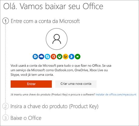 Mostra na página setup.office.com onde resgatar a chave do produto