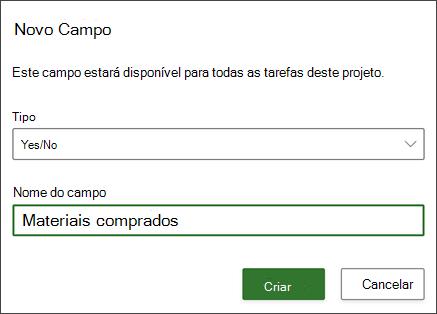 Captura de tela do projeto da caixa de diálogo novo campo mostrando o nome do campo preenchido