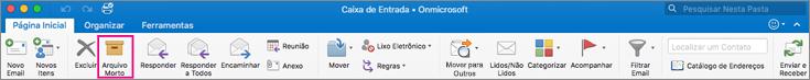 Faixa de opções do Outlook com o botão de Arquivamento realçado