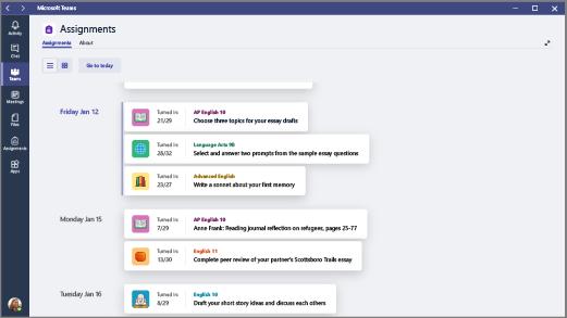 Visualize uma lista das tarefas que você criou em todas as classes.