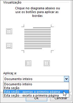 Mostra as opções Aplicar a na caixa de diálogo Bordas e Sombreamento