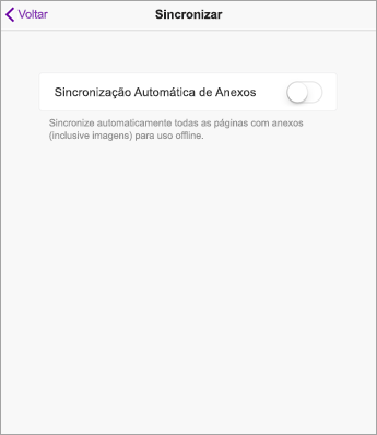 Desative a sincronização automática nas configurações do OneNote no iPad.