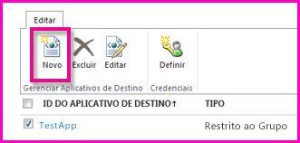 Captura de tela da página do Centro de Administração do SharePoint Online para configuração de um Aplicativo de Destino do Repositório Seguro.