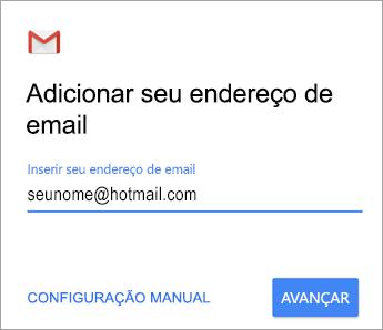 Adicionar seu endereço de email