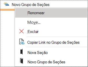 Caixa de diálogo Renomear um grupo de seções no OneNote para Windows