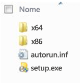 Estrutura de pastas do seletor de plataformas para instalação do Office 2010 de 64 bits.