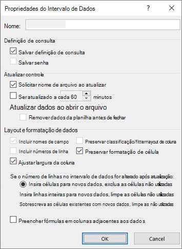 Exemplo da caixa de diálogo Propriedades do Intervalo de Dados Externos