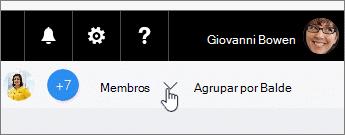 Clique em membros para uma lista suspensa e arraste um membro a uma tarefa