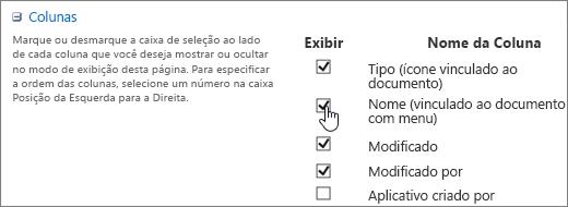 Caixa de diálogo de seletor de coluna