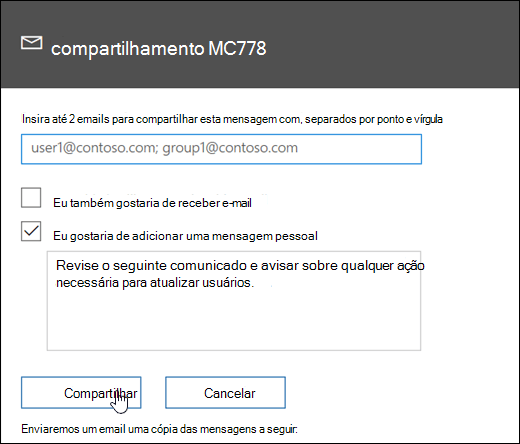 Uma captura de tela da mensagem de compartilhamento de tela