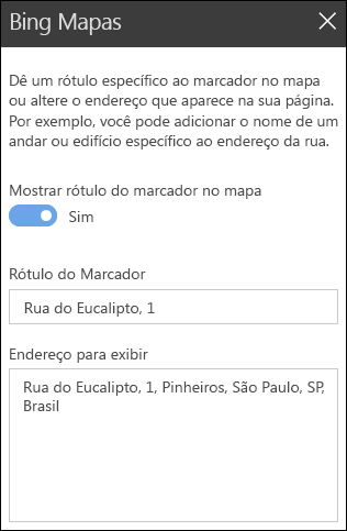 Ferramentas do Bing Maps Web Part