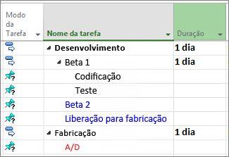 Imagem da estrutura de tópicos de uma lista de tarefas importada do Microsoft Word