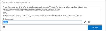 Um link de página da Web formatado com texto de exibição