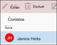 Editar contato no Outlook para Mac.