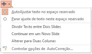 O menu de opções de AutoAjuste