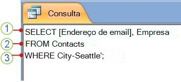 Guia Objeto SQL mostrando uma instrução SELECT