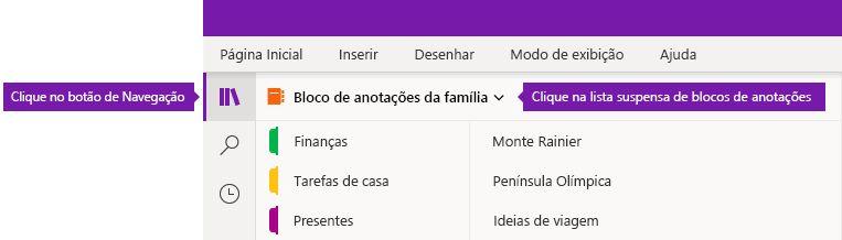 Expandir a lista de blocos de anotações no OneNote para Windows 10