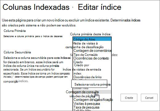 Página Editar índice com a coluna selecionada na caixa suspensa