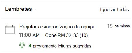 Exemplo de lembrete para Outlook para a Web.