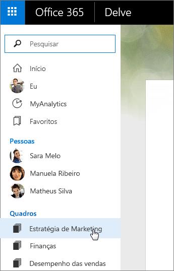 Captura de tela da lista Quadros no painel esquerdo do Delve.