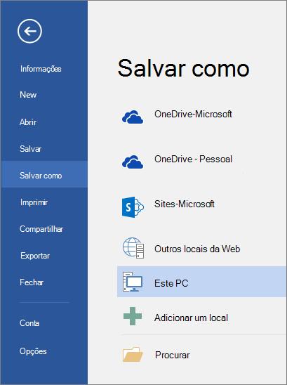 As opções de Salvar como são exibidas após clicar em Este PC.
