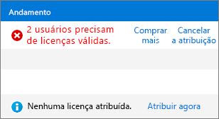 Coluna de status na página Licenças.