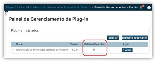 "Na página ""Painel de gerenciamento de plug-ins"", certifique-se de que o plug-in esteja habilitado."