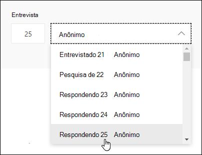 Insira um número específico na caixa de pesquisa do participante para ver os detalhes da resposta do indivíduo no Microsoft Forms