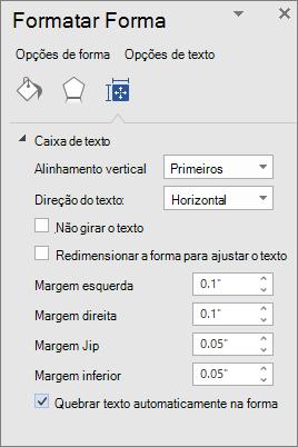 Formatar forma mostrando as configurações de margem