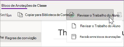 Botão analisar trabalho do aluno. Revisar o trabalho do aluno e a revisão do bloco de anotações são opções.