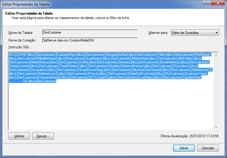 Consulta SQL usada para recuperar os dados