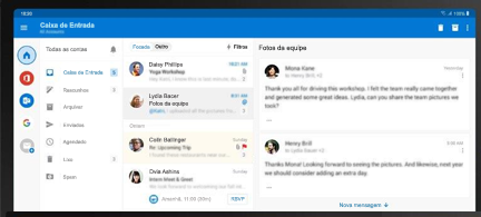 Uma estação Samsung DeX para PCs com Outlook em um layout de 3 painéis
