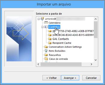 Quando você importa contatos do Google Gmail para sua caixa de correio do Office 365, selecione contatos como destino.