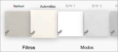 Opções de filtro para digitalização de imagem no OneDrive para iOS