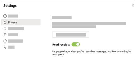 Vá para configurações > privacidade > confirmações de leitura no Teams.