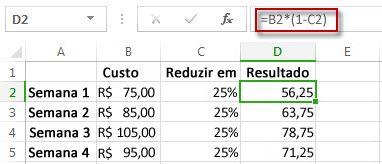Resultados de porcentagem na coluna D