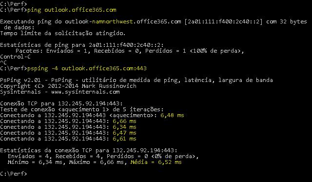 Captura de tela que mostra um ping resolvendo outlook.office365.com e um PSPing com 443 realizando a mesma tarefa, além de relatar também um tempo de resposta médio de 6,5ms.