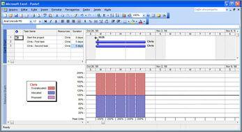 Modo de exibição do Microsoft Project mostrando Paulo com excesso de tarefas
