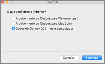 Importar tela com dados do Outlook 2011 no computador selecionado
