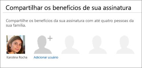 A seção Compartilhar os benefícios de sua assinatura da página Compartilhar Office 365, que mostra o link Adicionar usuário.