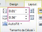 Definir a altura e largura de uma célula de tabela