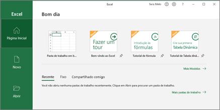 Excel cria uma pasta de trabalho