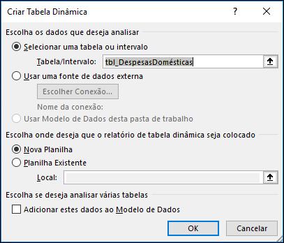 Inserir do Excel > opções de Gráfico Dinâmico