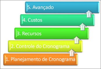 Cinco áreas principais de um sistema de gerenciamento de projetos