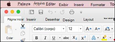 A faixa de opções no Word para Mac no tema clássico