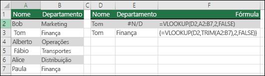 Usando a função PROCV com ARRUMAR em uma fórmula de matriz para remover espaços à esquerda ou à direita.  A fórmula na célula E3 é {=PROCV(D2;ARRUMAR(A2:B7);2;FALSO)}. Para inseri-la, use o comando Ctrl+Shift+Enter.